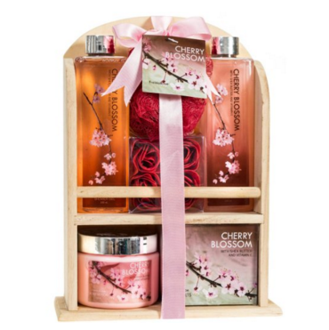 Cherry Blossom Spa Gift Set in a Natural Wood Caddy (1)