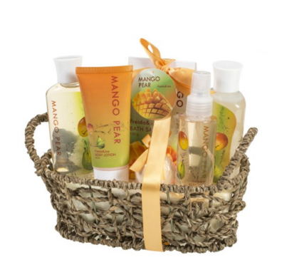 Mango Pear Spa Gift Set Woven Antique Basket