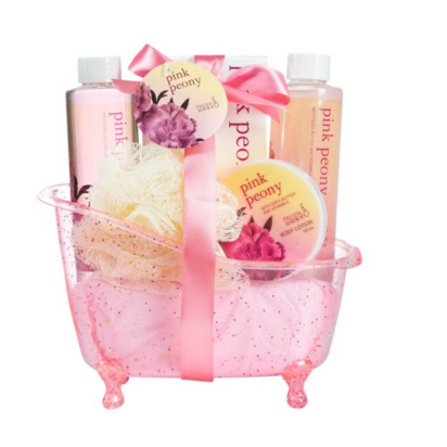Pink Peony Spa Gift Set in a Dazzling Glitter Tub